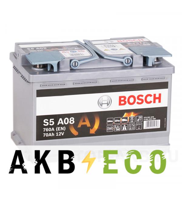 Автомобильный аккумулятор Bosch S5 AGM Start-Stop 70R (760A 278x175x190) A08