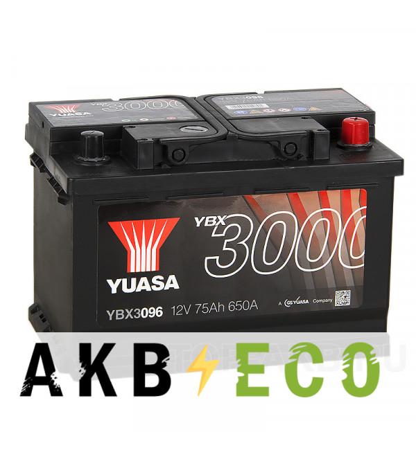 Автомобильный аккумулятор YUASA YBX3000 75R (650А 278x175x190) YBX3096