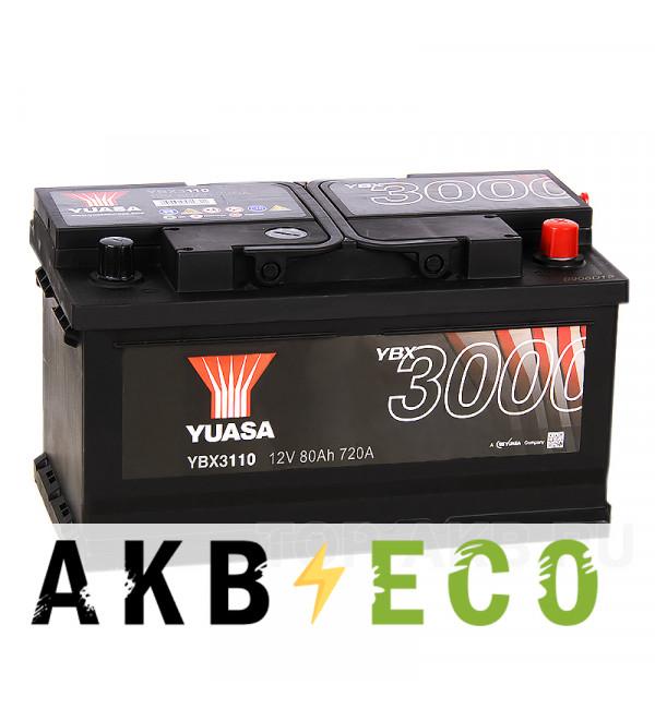 Автомобильный аккумулятор YUASA YBX3000 80R низкий (720А 315x175x175) YBX3110