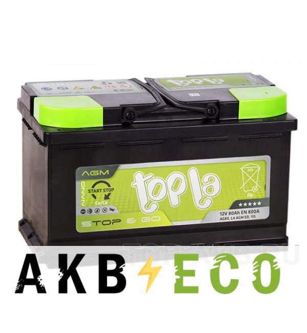Автомобильный аккумулятор Topla AGM Stop-n-Go 80R (800A 315x175x190) 114080