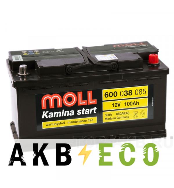 Автомобильный аккумулятор Moll Kamina Start 100R 850A (353x175x190)