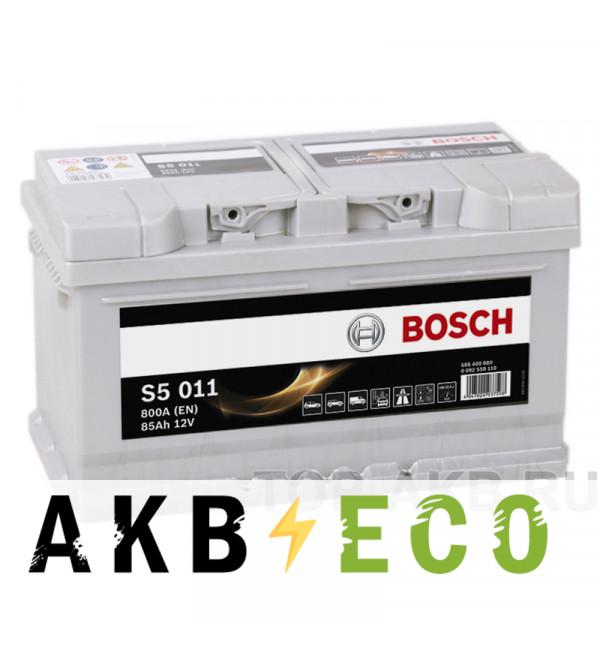 Автомобильный аккумулятор Bosch S5 011 85R 800A 315x175x190