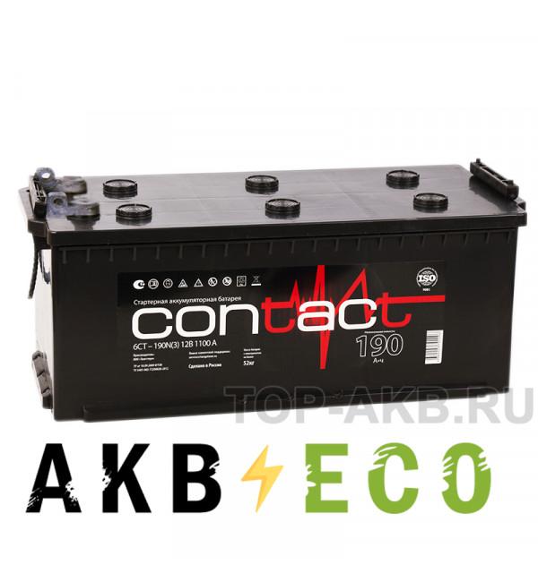 Автомобильный аккумулятор Contact 190 рус (клеммы под болт) 1100A 516x223x223