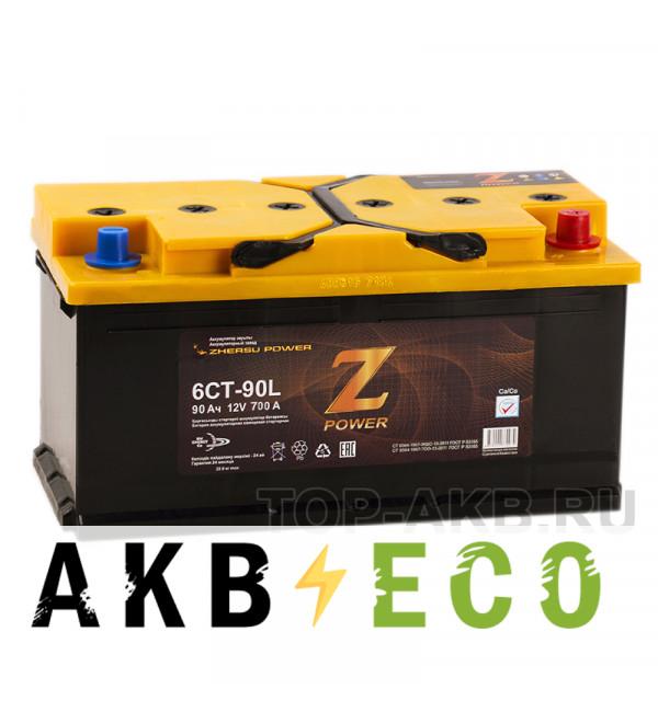 Автомобильный аккумулятор Z-Power 90R 700A 353x175x190