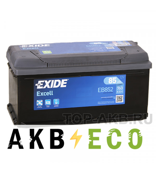 Автомобильный аккумулятор Exide Excell 85R (760A 353x175x175) EB852