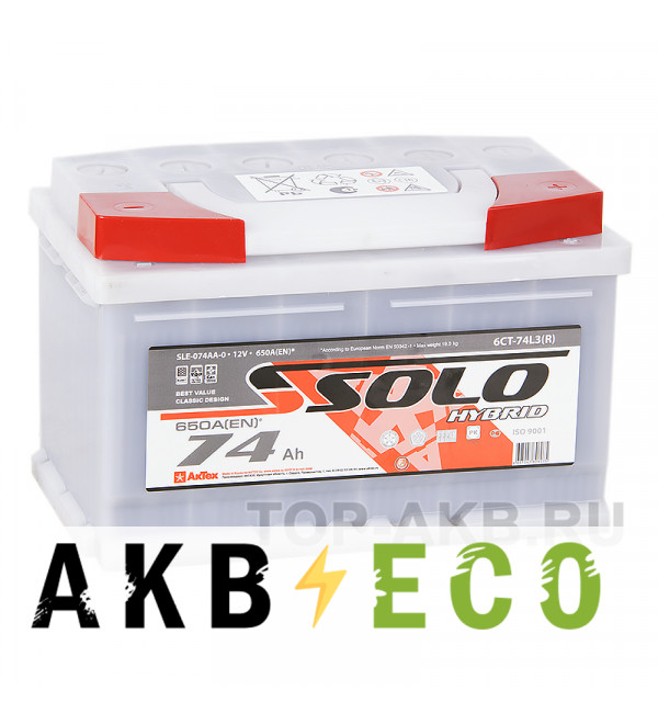 Автомобильный аккумулятор SOLO 74R низкий (650A 278x175x175)