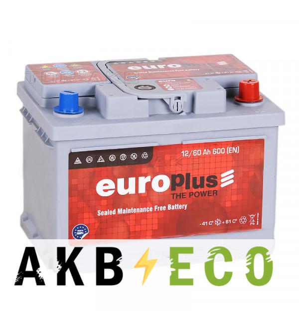 Автомобильный аккумулятор Europlus 60R низкий (600A 242x175x175)