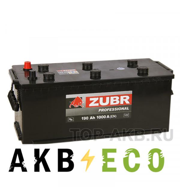 Автомобильный аккумулятор ZUBR Professional 190 евро (1000A 513x223x223)