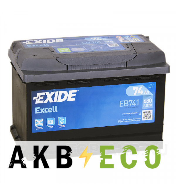 Автомобильный аккумулятор Exide Excell 74L (680A 278x175x190) EB741