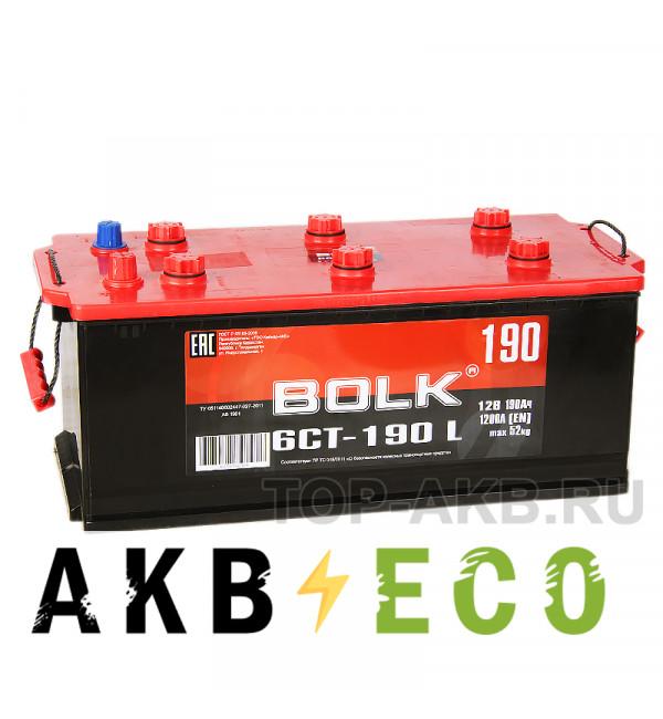 Грузовой аккумулятор BOLK 190 рус 1200A (524X239X240) AB 1900