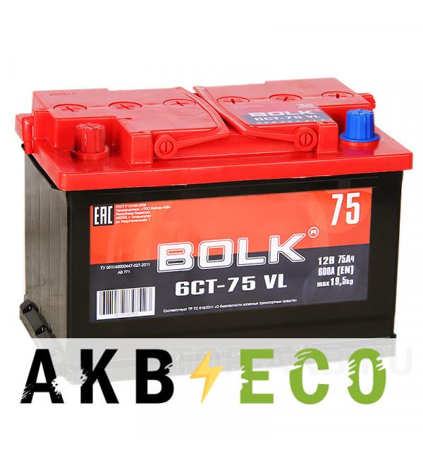Автомобильный аккумулятор BOLK 75L 600A 278x175x190 AB751
