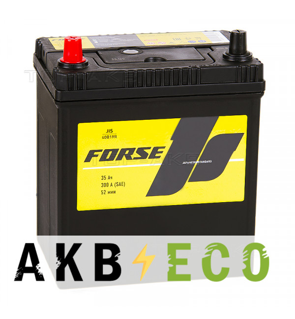 Автомобильный аккумулятор Forse JIS 40B19R 35 Ач 300А прямая пол. (187x127x227)