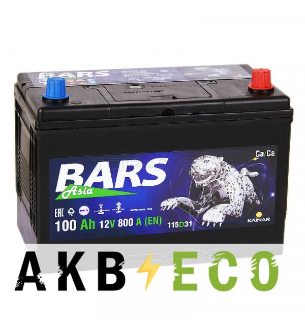 Автомобильный аккумулятор Bars Asia 100R 800A (306x173x225)