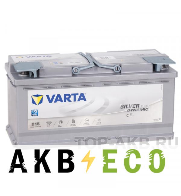 Автомобильный аккумулятор Varta Silver Dynamic AGM H15 105R (Start-Stop) 950A 393x175x190