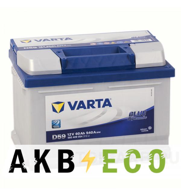 Автомобильный аккумулятор Varta Blue Dynamic D59 60R 540A 242x175x175 (560409054)
