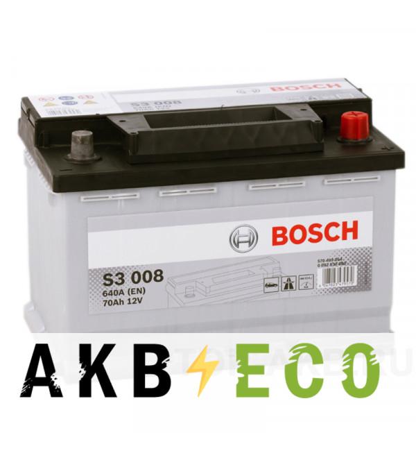 Автомобильный аккумулятор Bosch S3 008 70R 640A 278x175x190