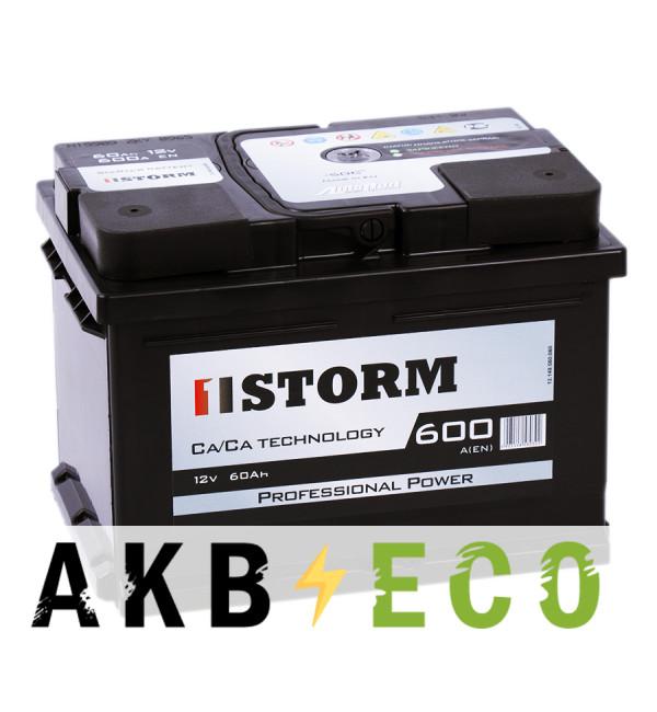 Автомобильный аккумулятор Storm Professional Power 60R низкий 600A 242x175x175