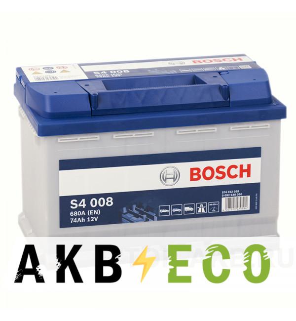 Автомобильный аккумулятор Bosch S4 008 74R 680A 278x175x190