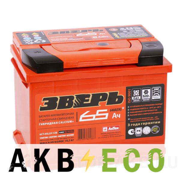 Автомобильный аккумулятор Зверь 65L 640A 242x175x190