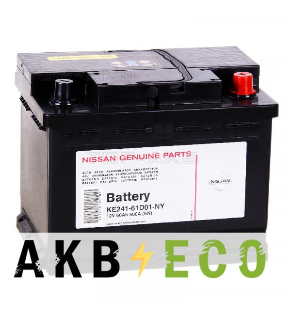 Автомобильный аккумулятор Nissan 60 Ач обратн. пол. 600A (242x175x190) KE241-61D01NY