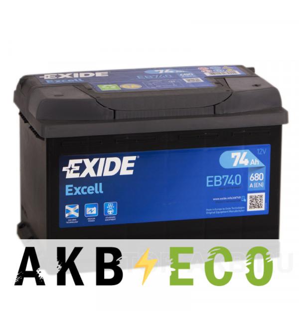 Автомобильный аккумулятор Exide Excell 74R (680A 278x175x190) EB740