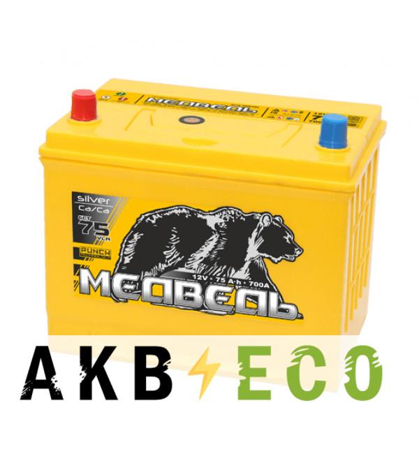Автомобильный аккумулятор Тюменский медведь Сa/Сa 90D26R 75 Ач прям. пол. 700A (260x173x225) Silver ASIA