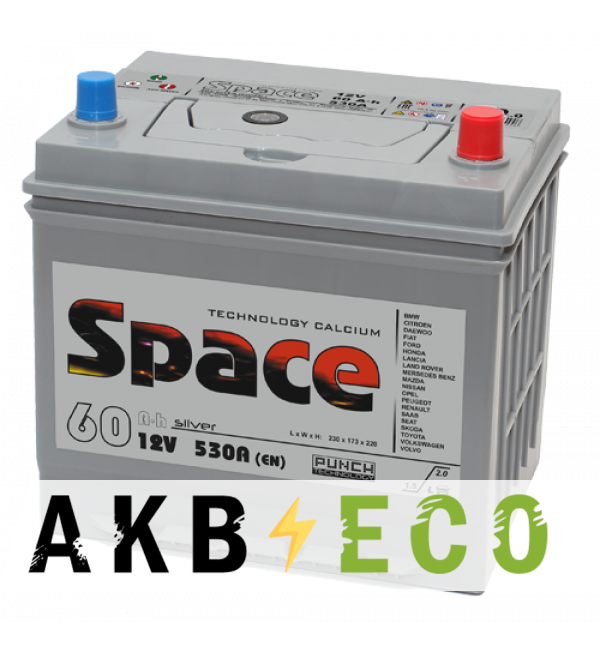 Автомобильный аккумулятор Space Asia 65D23L (60R 530A 232x173x225)