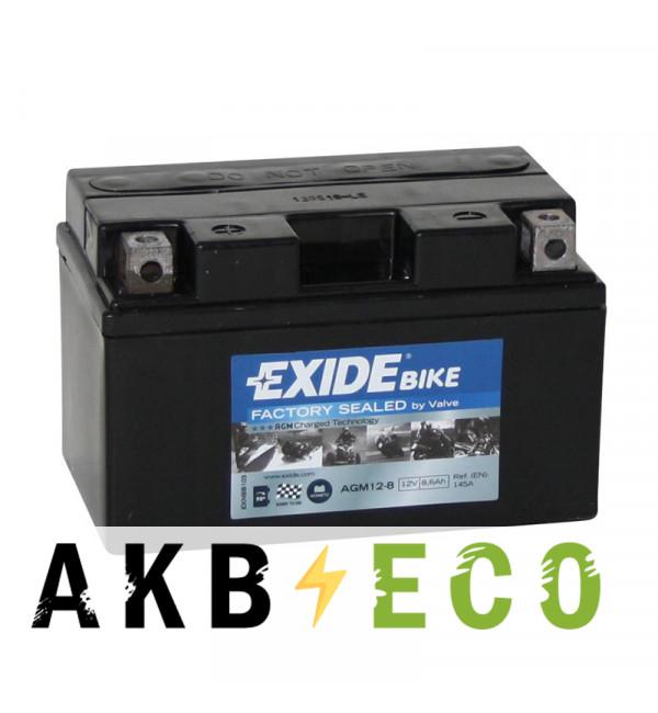 Мотоциклетный аккумулятор Exide AGM Ready 12-8 12V 8.6Ah 145A (150x87x93) прям. пол.