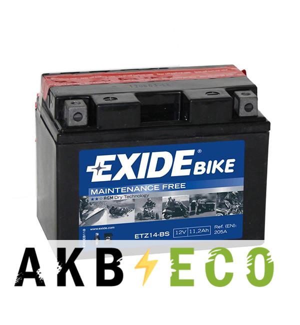 Мотоциклетный аккумулятор Exide AGM сухозаряж. ETZ14-BS 12V 11.2Ah 205A (150x87x110) прям. пол.