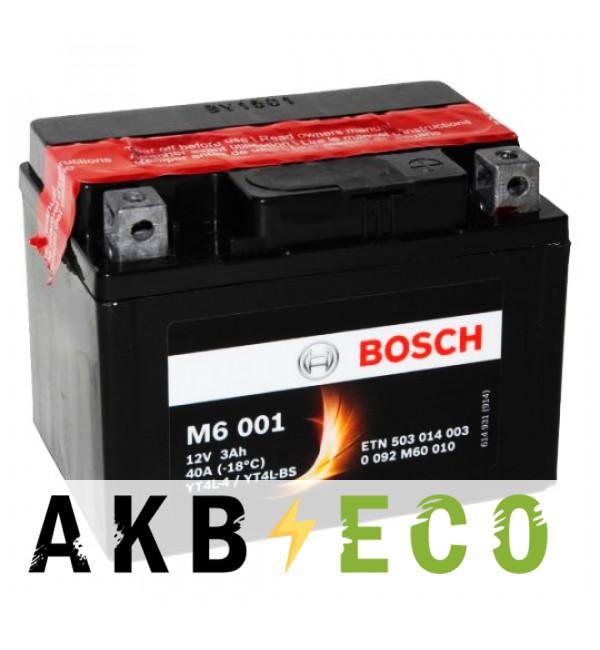 Мотоциклетный аккумулятор Bosch Moto AGM 3 Ач 40А (114x71x86) M60010 обратная пол.