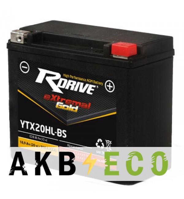 Мотоциклетный аккумулятор RDrive YTX20HL-GEL 12V 18Ah 310А обр. пол. (176x87x154) eXtremal GOLD