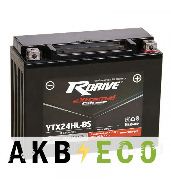 Мотоциклетный аккумулятор RDrive YTX24HL-BS 12V 21Ah 350А обр. пол. AGM сухозаряж. (205x87x162) eXtremal SILVER
