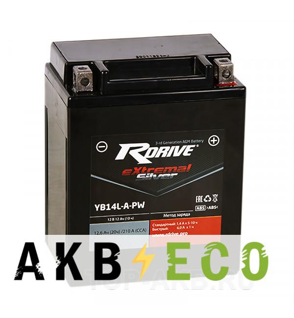 Мотоциклетный аккумулятор RDrive YB14L-A-PW 12V 12Ah 210А обр. пол. AGM сухозаряж. (134x90x166) eXtremal SILVER