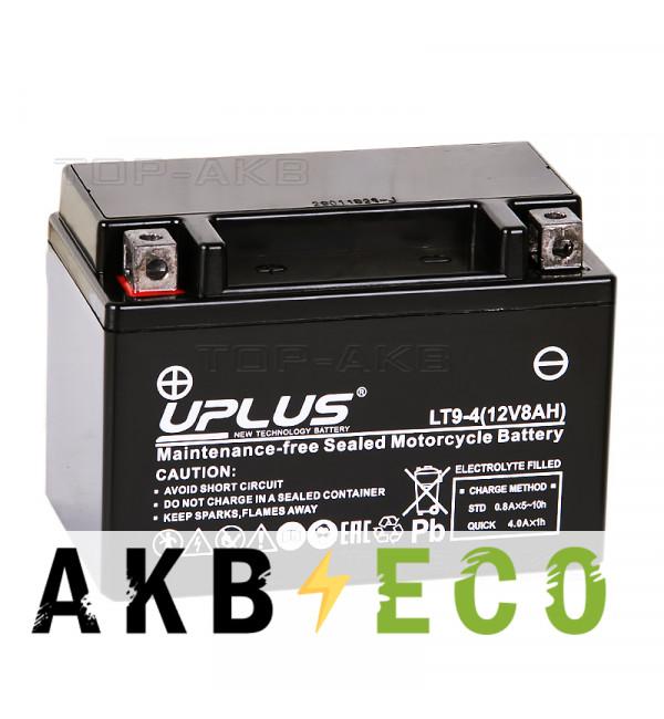 Мотоциклетный аккумулятор Uplus LT9-4 12V 8Ah 120А прям. пол. (150x87x105) Super Start AGM