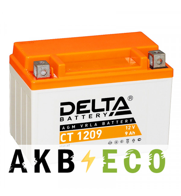 Мотоциклетный аккумулятор Delta CT 1209, 12V 9Ah, 135А (152x87x107) YTX9-BS, YTX9