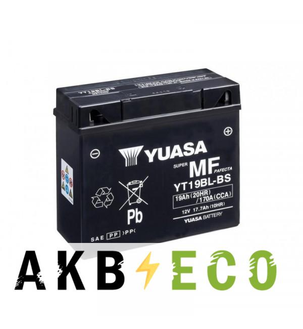 Мотоциклетный аккумулятор Yuasa YT19BL-BS - 17.7 Ач 170А (185x81x170) обр. пол. AGM сухоз.