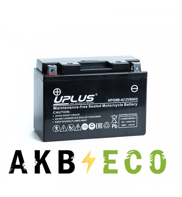 Мотоциклетный аккумулятор Uplus HPG9B-4 12V 8Ah 115А прям. пол. (149x70x105) Nano GEL