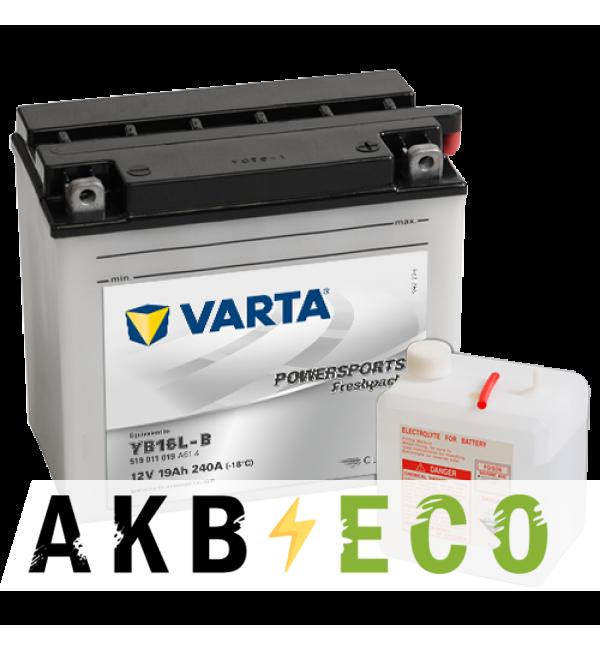 Мотоциклетный аккумулятор VARTA Powersports Freshpack YB16L-B 12V 19Ah 240А (176x101x156) обр. пол. 519 011 019, сухозар.