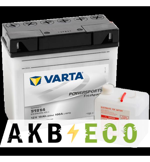 Мотоциклетный аккумулятор VARTA Powersports Freshpack 51814 12V 18Ah 100А (186x82x171) обр. пол. 518 014 015, сухозар.