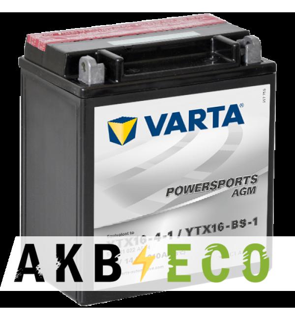 Мотоциклетный аккумулятор VARTA Powersports AGM YTX16-4-1 12V 14Ah 210А (150x87x161) п/п 514 901 022, сух.