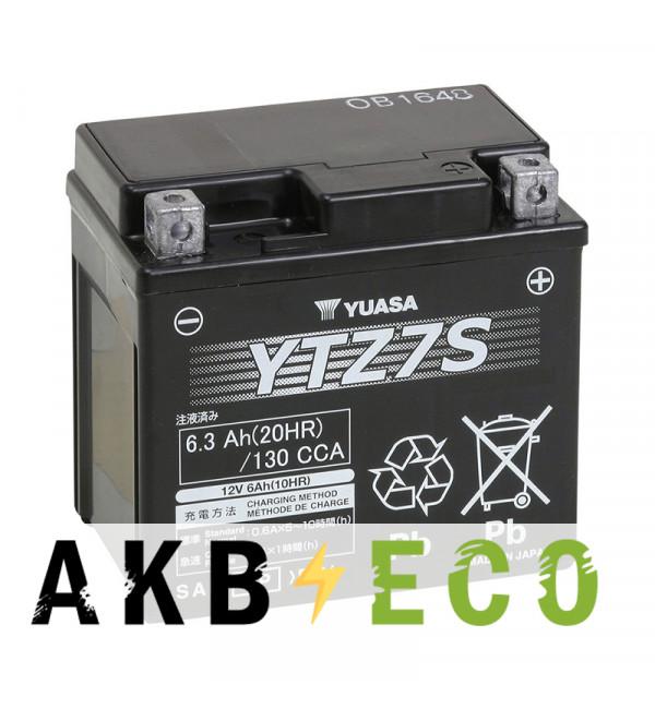 Мотоциклетный аккумулятор Yuasa YTZ7S - 6 Ач 130А (113x70x105) обр. пол. AGM