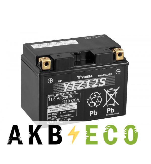 Мотоциклетный аккумулятор Yuasa YTZ12S - 11 Ач 210А (150x87x110) прям. пол. AGM