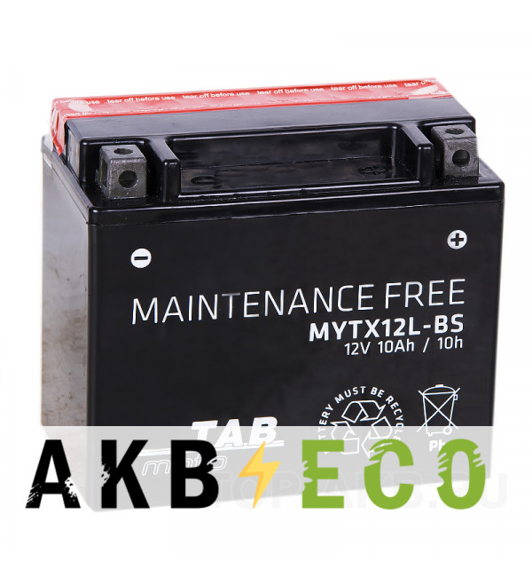 Мотоциклетный аккумулятор TAB Moto Maintenance free MYTX12L-BS 12V 10Ah 180A (150х87х130) обр. пол. AGM сухоз.