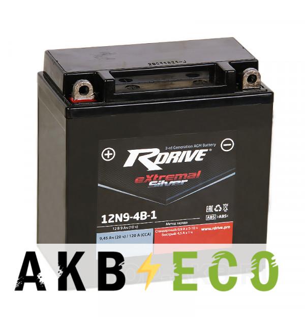 Мотоциклетный аккумулятор RDrive 12N9-4B-1 12V 9Ah 120Апрям. пол. AGM сухозаряж. (135x75x139) eXtremal SILVER