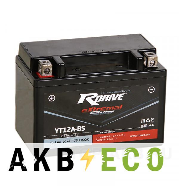 Мотоциклетный аккумулятор RDrive YT12A-BS 12V 10Ah 145Апрям. пол. AGM сухозаряж. (150x87x105) eXtremal SILVER