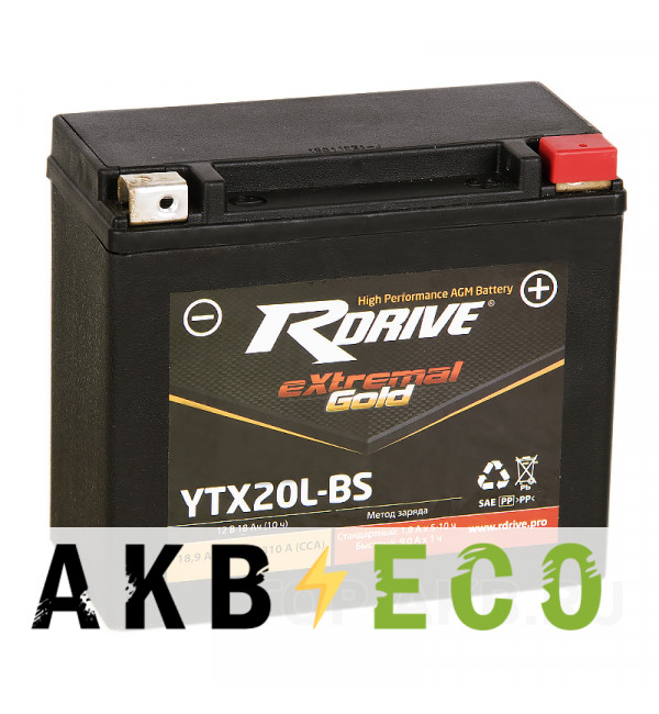 Мотоциклетный аккумулятор RDrive YTX20L-BS 12V 18Ah 270А обр. пол. AGM (150x87x145) eXtremal GOLD