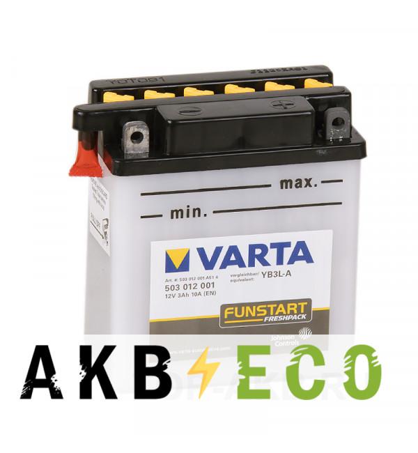 Мотоциклетный аккумулятор VARTA Funstart Freshpack YB3L-A 12V 3Ah 10А (100x58x112) обр. пол. 503 012 001, сухозар.