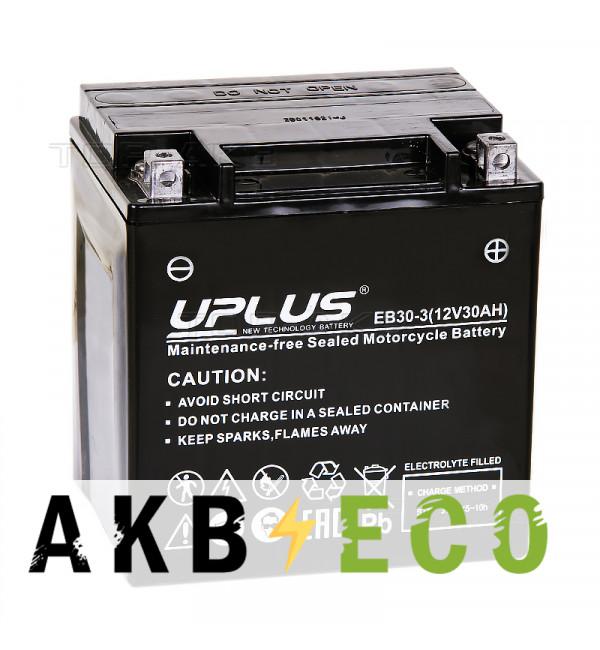 Мотоциклетный аккумулятор Uplus EB30-3 12V 30Ah 385А обр.пол. (166x126x173) Super Start High Performance AGM