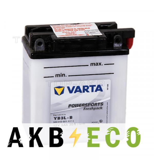 Мотоциклетный аккумулятор VARTA Powersports Freshpack YB3L-B 3 Ач 30А (100x58x112) обр. пол. 503 013 001, сухозар.