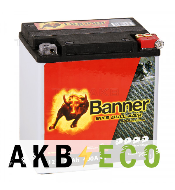 Мотоциклетный аккумулятор Banner Bike Bull AGM PROfessional 53001 ETX30L 26 Ач обр. пол. 400А (168x131x176)